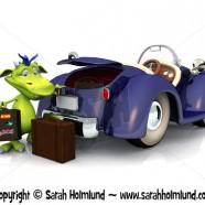 Cute cartoon monster going on a car trip