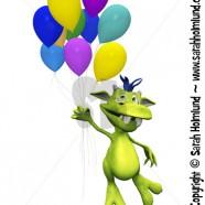 Cute cartoon monster holding balloons
