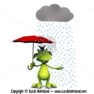 Cute cartoon monster in the rain