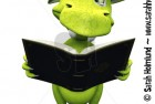Cute cartoon monster looking confused when reading