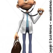 Older cartoon doctor holding stethoscope