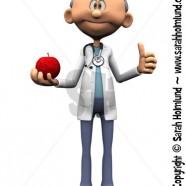 Older cartoon doctor holding an apple