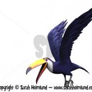 Flying toucan bird